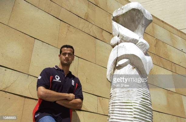 Owais Shah of England poses for pictures by some maori carvings Hamilton New Zealand DIGITAL IMAGE Mandatory Credit Tom Shaw/Getty Images