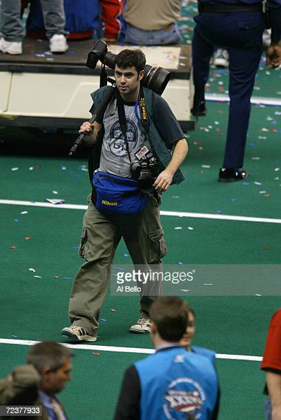 Photographer Ezra Shaw during Superbowl XXXVI at the Superdome in New Orleans Louisiana The Patriots defeated the Rams 2017 DIGITAL IMAGE Mandatory...