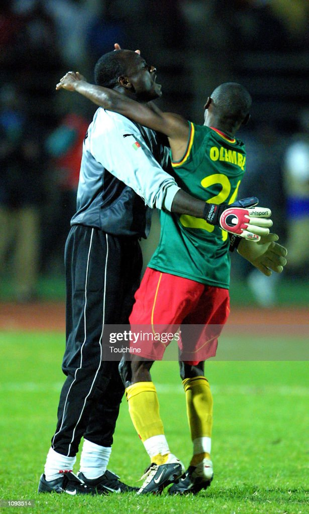 Salomon Olembe Olembe and Boukar Alioum of Cameroon celebrate winning the African Cup of Nations Final between Cameroon and senegal played at the 26...