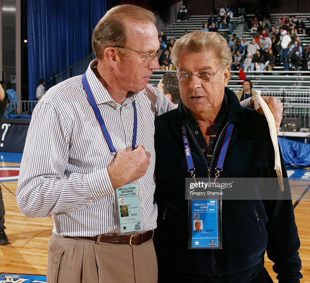 Sophomore coach Billy Cunningham L talks with Rookie coach Chuck
