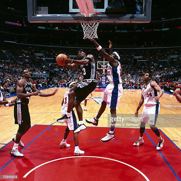 Stephen Jackson of the San Antonio Spurs drives to the basket against the Los Angeles Clippers during an NBA game at the Staples Center in Los...