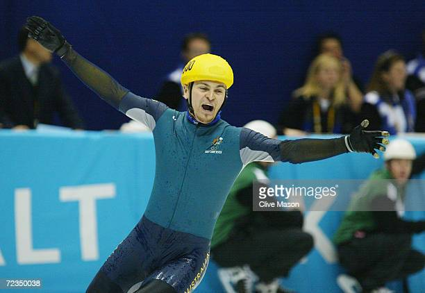 Steven Bradbury of Australia celebrates winning the gold medal in the men's 1000m speed skating final during the Salt Lake City Winter Olympic Games...