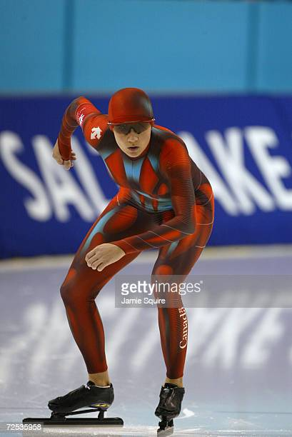 Susan Auch of Canada competes in the women's 500m speed skating event during the Salt Lake City Winter Olympic Games at the Utah Olympic Oval in Salt...