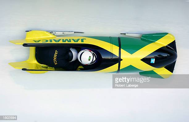 The Jamaican team practices in the men's 2man bobsled during the Salt Lake City Winter Olympic Games at the Utah Olympic Park in Park City Utah...