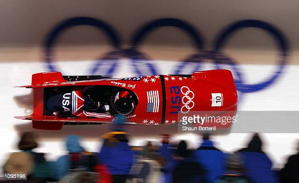 USA 2 with Jill Bakken and Vonetta Flowers in action on their way to winning the gold medal in the 2woman bobsled during the Salt Lake City Winter...