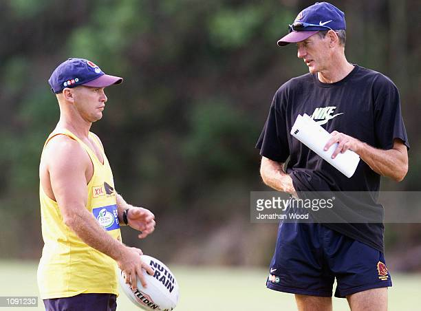 Wayne Bennett and Allan Langer of the Brisbane Broncos chat during a team training session held at the Queensland University of Technology Brisbane...