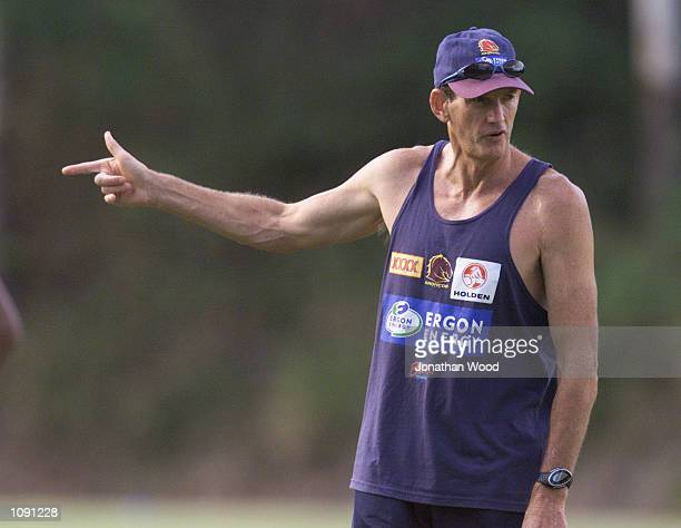 Wayne Bennett of the Brisbane Broncos in action during a team training session held at the Queensland University of Technology Brisbane Australia...