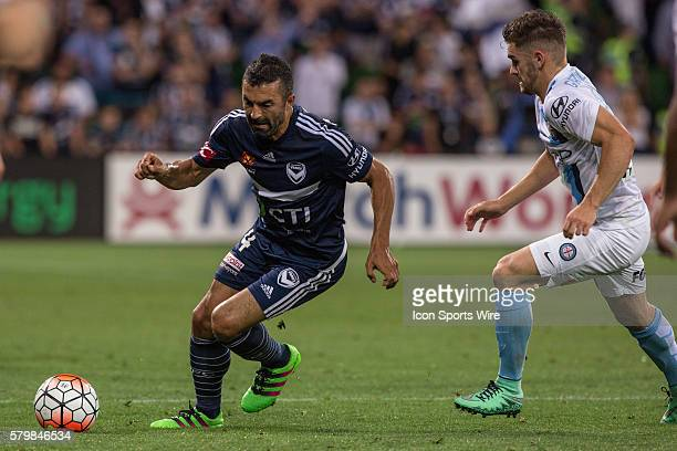 Fahid Ben Khalfallah of Melbourne Victory controls the ball front of Benjamin Garuccio of Melbourne City during the 19th round of the 201516 Hyundai...