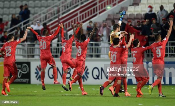 DOHA Feb 21 2017 Qatar's Lekhwiya's Youssef Msakni celebrates with teammates after scoring during the AFC Asian Champions League group B football...