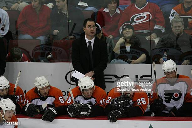 Feb 22 2007 Raleigh NC USA Philadelphia Flyers head coach JOHN STEVENS against Carolina Hurricanes on Feb 22 at the RBC Center in Raleigh NC The...