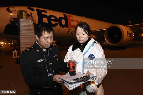 CHENGDU Feb 22 2017 Staff members of Sichuan EntryExit Inspection and Quarantine Bureau handle customs procedures for giant panda Bao Bao at Chengdu...