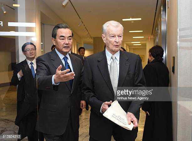 C Feb 24 2016 Chinese Foreign Minister Wang Yi front left meets with former US National Security Advisor Zbigniew Brzezinski in Washington DC the...