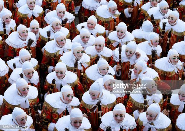BINCHE Feb 28 2017 Masked 'Gilles' take part in the parade of Mardi Gras the last day of Carnival in Binche some 60 km south to Brussels capital of...