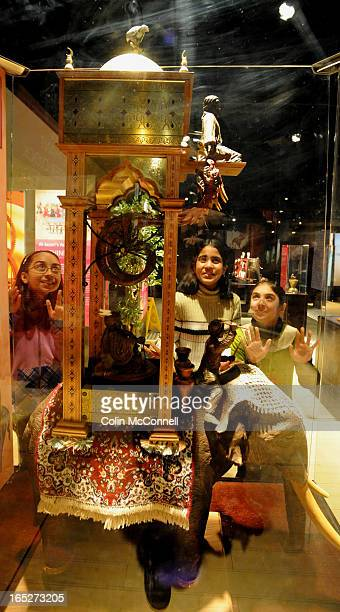 Feb 3rd 2009pics of l to r alishba kiran10 piali bhati10 and hadiqa raza10 look at a replica of aljaziris elephant water clock at the ontario science...