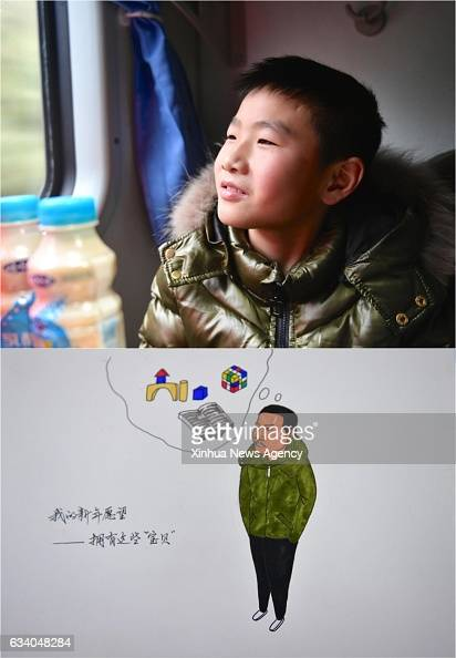 Combo photo made on Feb 4 2017 shows 12yearold Huang Dehui and the picture of him with his wish of buying books a Rubik's cube and toy bricks on...