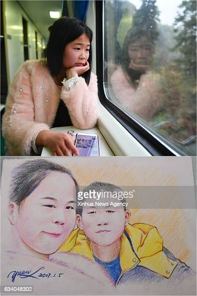 Combo photo made on Feb 4 2017 shows 18yearold Huang Fenfen and the picture of Huang and her brother on K4533 train connecting Jingdezhen of Jiangxi...