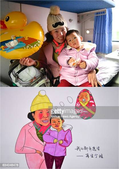 Combo photo made on Feb 4 2017 shows 30yearold Xu Aiqin and her child and the picture of them with her wish of having another child on K4533 train...