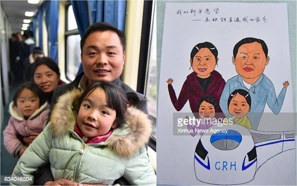 Combo photo made on Feb 4 2017 shows 31yearold Huang Xunxian with his wife and children and the picture of them with their wish of taking highspeed...