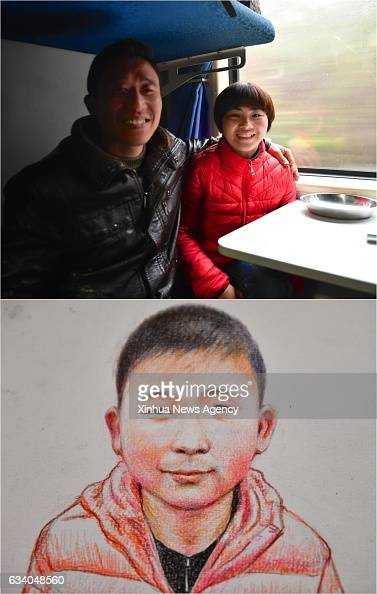 Combo photo made on Feb 4 2017 shows 42yearold Wang Yun and his wife Wang Xiangye and the picture of their son on K4533 train connecting Jingdezhen...