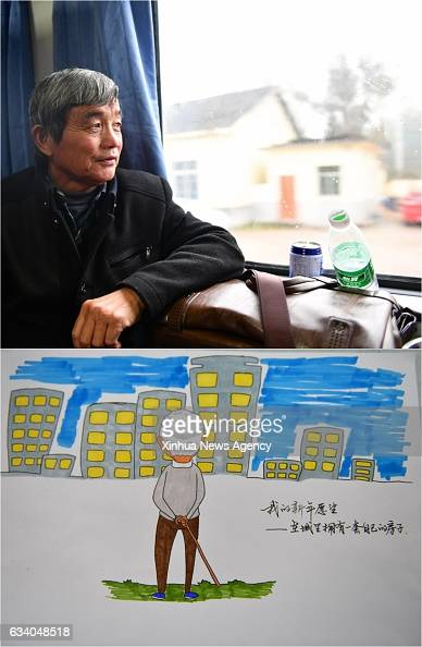 Combo photo made on Feb 4 2017 shows 63yearold Huang Hanxue and the picture of him with his wish of purchasing a house in town on K4533 train...