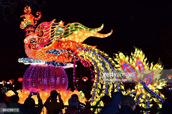 JINAN Feb 8 2017 Tourists visit Baotu Spring Park during the 38th Baotu Spring Lantern Festival in Jinan capital of east China's Shandong Province...