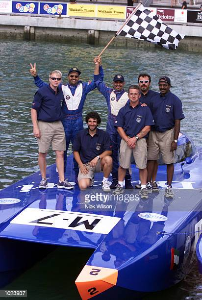 Saeed AlTayer of the United Arab Emirates poses with his support crew after winning the third race of the Class Two World Offshore Powerboat...