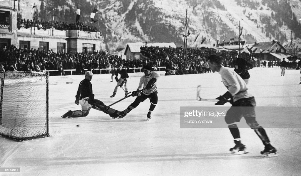 The Winter Olympics Chamonix The Canadian ice hockey team the Toronto Granites scoring during the final in which they beat the United States in the...