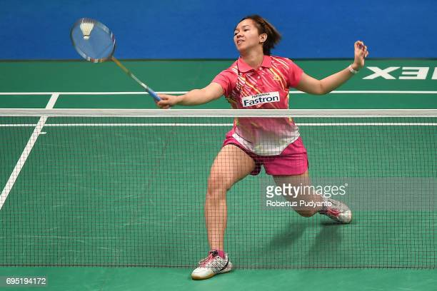 Febby Angguni of Indonesia competes against Kirsty Gilmour of Scotland during Womens single qualification round match of the BCA Indonesia Open Super...