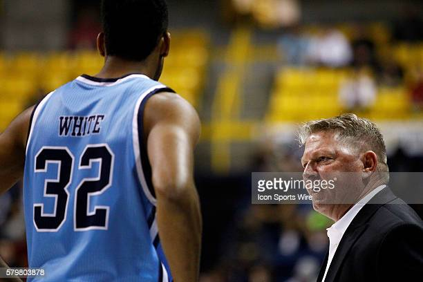 Citadel Bulldogs head coach Duggar Baucom gives Citadel Bulldogs forward Brian White an earful after receiving a technical foul The Chattanooga Mocs...