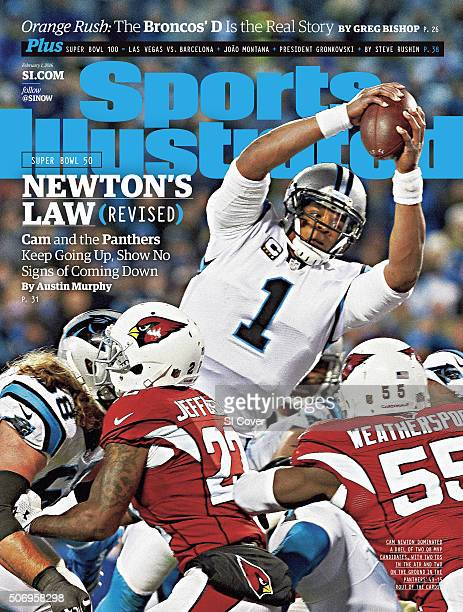 February 1 2016 Sports Illustrated Cover NFC Playoffs Carolina Panthers QB Cam Newton in action scoring 1yard touchdown by leaping over Arizona...