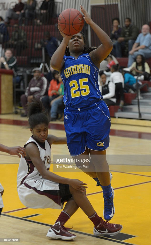 Gaithersburg G Briana Jones (25) scores during 2nd half action against Paint Branch on February 1, 2013 in Burtonsville, MD