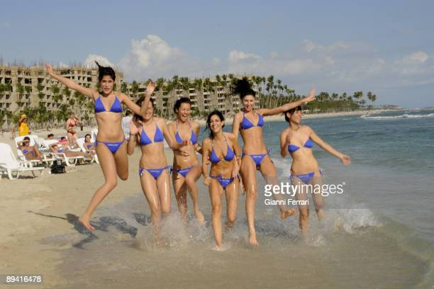 February 10 2008 Boca Chica Santo Domingo Dominican Republic The 52 candidates to the beauty contest Miss Spain 2008 in Dominican Republic a trip to...