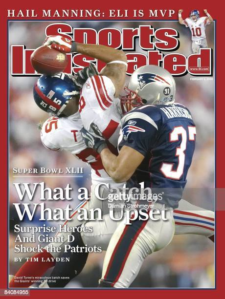February 11 2008 Sports Illustrated Cover Football Super Bowl XLII New York Giants David Tyree in action making catch using helmet during 4th quarter...