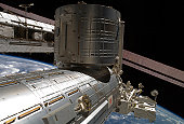 February 11, 2010 - The Japanese Kibo complex backdropped by the blackness of space and part of Earth.