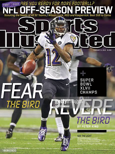 February 11 2013 Sports Illustrated Cover Super Bowl XLVII Baltimore Ravens Jacoby Jones in action returning 2nd half kickoff for 108 yard touchdown...