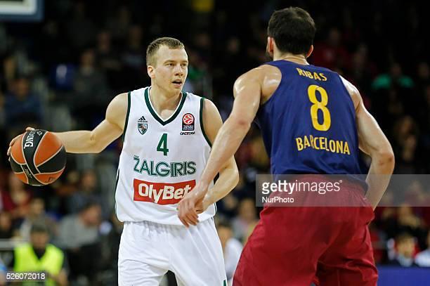 Lukas Lekavicius and Pau Ribasduring the match between FC Barcelona and Zalgiris Kaunas corresponding to que week 7 of the Top 16 of the Euroleague...