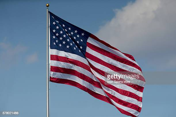 February 14 2015 American flag waving in the wind over Alex Box Stadium during the game between the LSU and Kansas at Alex Box Stadium in Baton Rouge...