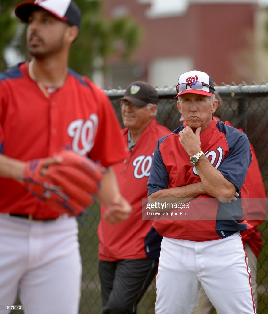 Washington Nationals manager Davey Johnson (5) keeps an eye on starting pitcher Gio Gonzalez (47) during spring training workouts on February 14, 2013 in Viera, FL
