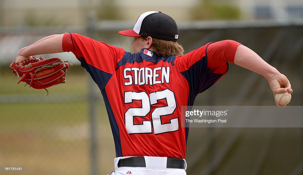 Washington Nationals relief pitcher Drew Storen (22) throws a bullpen session during spring training workouts on February 14, 2013 in Viera, FL