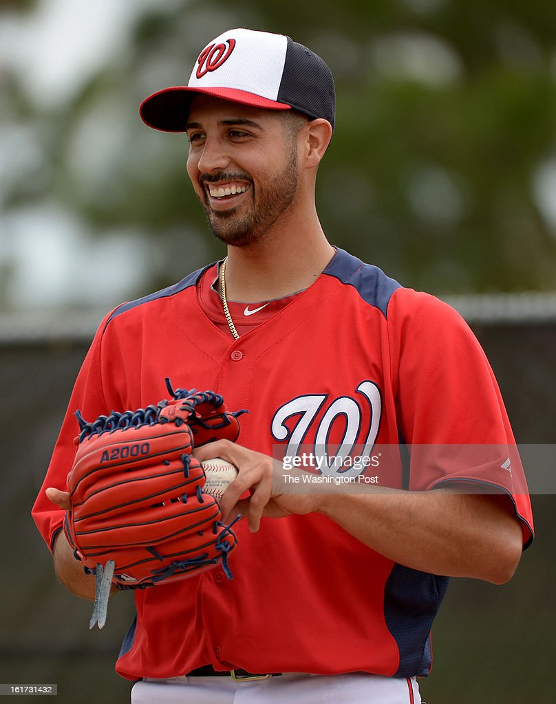 Washington Nationals starting pitcher Gio Gonzalez (47) was all smiles during his first bullpen session during spring training workouts on February 14, 2013 in Viera, FL