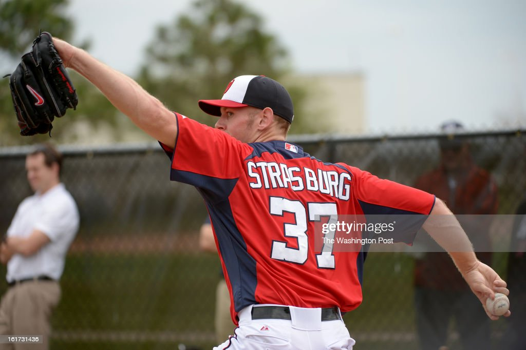 Washington Nationals starting pitcher Stephen Strasburg (37) throws a bullpen session during spring training workouts on February 14, 2013 in Viera, FL