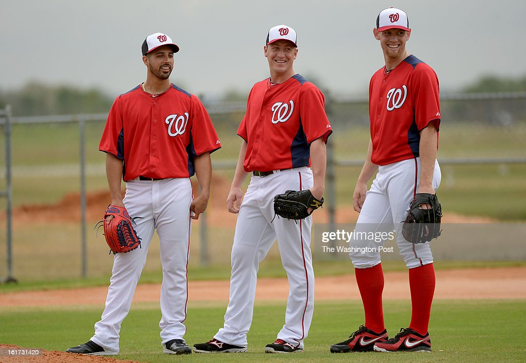 Washington Nationals starting pitchers (L-R)Gio Gonzalez (47) Jordan Zimmermann (27) and Stephen Strasburg (37) have a laugh during fielding drills on February 14, 2013 in Viera, FL