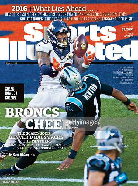 February 15 22 2016 Sports Illustrated Cover Super Bowl 50 Denver Broncos Von Miller in action reaching for fumble after making strip sack vs...