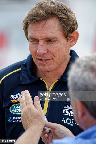 Brumbies coach Stephen Larkham chats to the media during the 2016 Asteron Life Super Rugby Media Launch event at Wet'n'Wild Sydney in NSW Australia