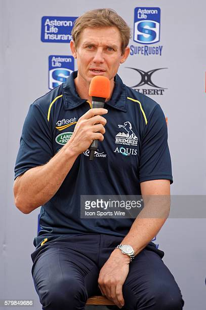 Brumbies coach Stephen Larkham speaks at a QA session during the 2016 Asteron Life Super Rugby Media Launch event at Wet'n'Wild Sydney in NSW...