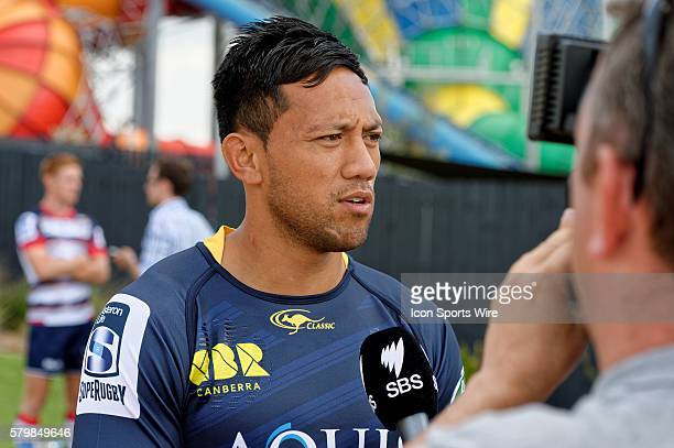 Brumbies player Christian Leali'ifano chats to the media during the 2016 Asteron Life Super Rugby Media Launch event at Wet'n'Wild Sydney in NSW...