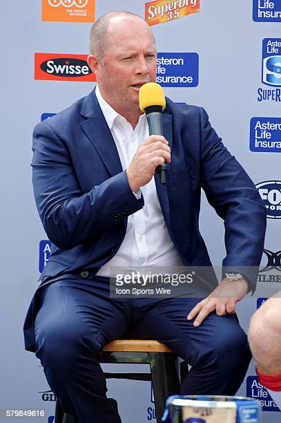 Melbourne Rebels coach Tony McGahan speaks at a QA session during the 2016 Asteron Life Super Rugby Media Launch event at Wet'n'Wild Sydney in NSW...
