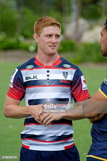 Melbourne Rebels scrumhalf Nicholas Stirzaker chats to players during the 2016 Asteron Life Super Rugby Media Launch event at Wet'n'Wild Sydney in...