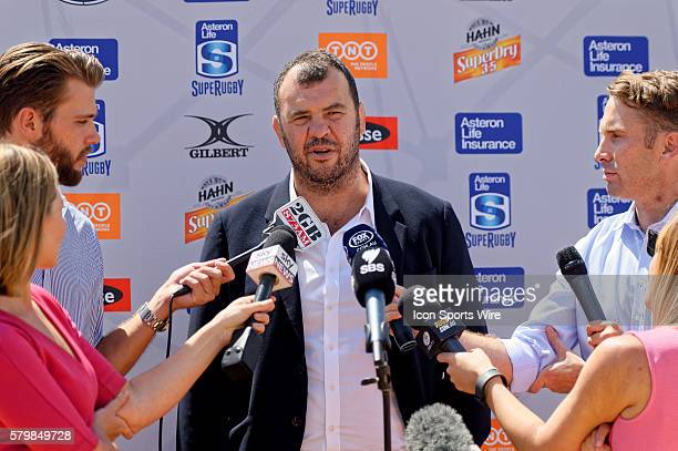 Qantas Wallabies Head Coach Michael Cheika speaks to the media during the 2016 Asteron Life Super Rugby Media Launch event at Wet'n'Wild Sydney in...