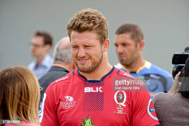 Queensland Reds captain James Slipper chats to the media during the 2016 Asteron Life Super Rugby Media Launch event at Wet'n'Wild Sydney in NSW...